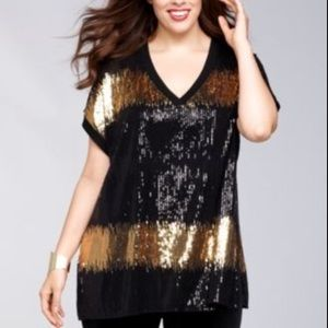 Sheer Sequin Black Gold V-Neck Tunic